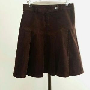 Dark Brown Corduroy Pleated Skirt.